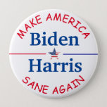 "Vote Biden and Harris American Flag 2020 Election Button<br><div class=""desc"">Make America safe again! Vote Biden and Harris American Flag 2020 Election button. American Flag stars.</div>"