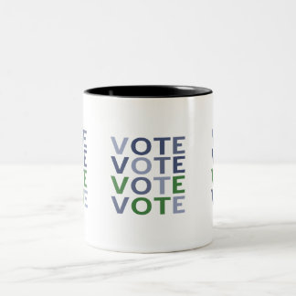 Vote Blue and Green Two-Tone Coffee Mug