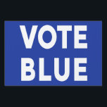 "Vote Blue bold text on blue political single sided Lawn Sign<br><div class=""desc"">You know what&#39;s at stake. Spread the message to vote for liberal democrats in elections with a &quot;VOTE BLUE&quot; yard sign with bold white text on a blue background on one side. For a different background color, click &quot;Customize&quot; and select a background color in the sidebar. Click &quot;Done&quot; and then...</div>"
