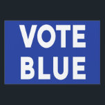 """Vote Blue bold text on blue political single sided Lawn Sign<br><div class=""""desc"""">You know what&#39;s at stake. Spread the message to vote for liberal democrats in elections with a &quot;VOTE BLUE&quot; yard sign with bold white text on a blue background on one side. For a different background color, click &quot;Customize&quot; and select a background color in the sidebar. Click &quot;Done&quot; and then...</div>"""