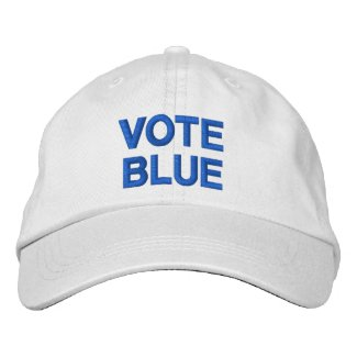 Vote Blue bold text political election Embroidered Baseball Cap
