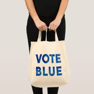 Vote Blue bold watercolor political 2-sided Tote Bag