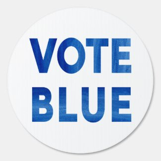 Vote Blue bold watercolor text election 1-sided Sign