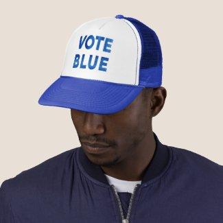 Vote Blue bold watercolor text political Trucker Hat