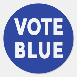 Vote Blue bold white text on blue election 1-sided Sign