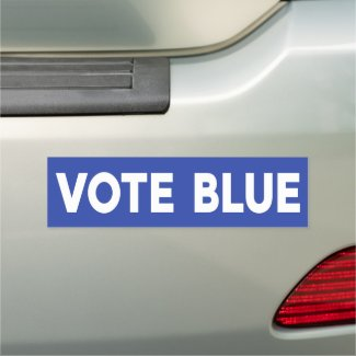 Vote Blue political bold white text on blue Car Magnet