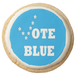 Vote Blue - Round Shortbread Cookies Round Premium Shortbread Cookie