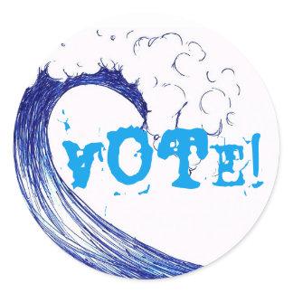 Vote! Blue Wave 2018 Classic Round Sticker