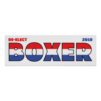 Vote Boxer 2010 Elections Red White and Blue Posters