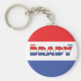Vote Brady 2010 Elections Red White and Blue Basic Round Button Keychain