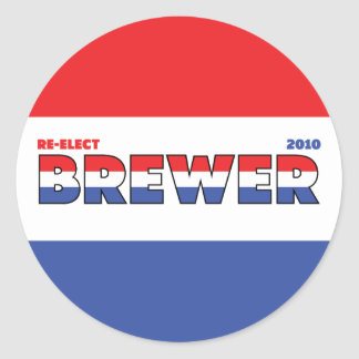 Vote Brewer 2010 Elections Red White and Blue Classic Round Sticker