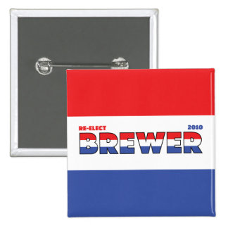 Vote Brewer 2010 Elections Red White and Blue Pinback Button
