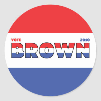 Vote Brown 2010 Elections Red White and Blue Classic Round Sticker
