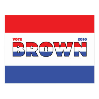 Vote Brown 2010 Elections Red White and Blue Postcard