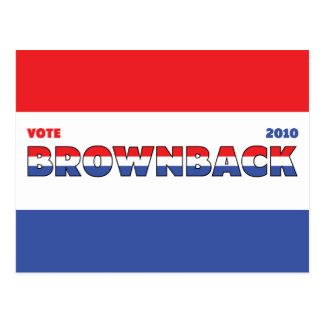 Vote Brownback 2010 Elections Red White and Blue Postcard