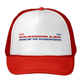 Vote Brownback 2010 Elections Red White and Blue Trucker Hat