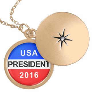 Vote Button President Locket Necklace