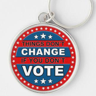 Vote Button Silver-Colored Round Keychain