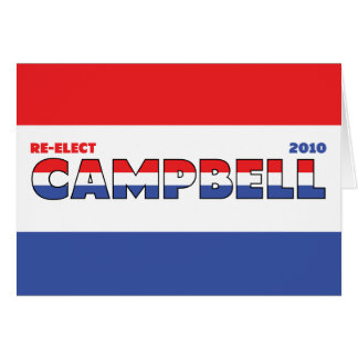 Vote Campbell 2010 Elections Red White and Blue Greeting Card