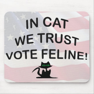 Vote Cat with American Flag Mouse Pads