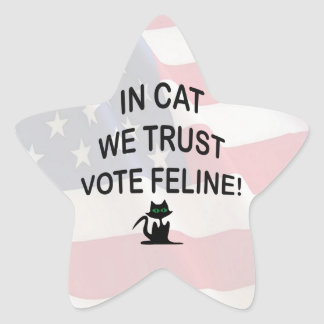 Vote Cat with American Flag Star Sticker