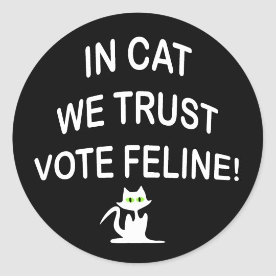Vote Cat with White Text Classic Round Sticker