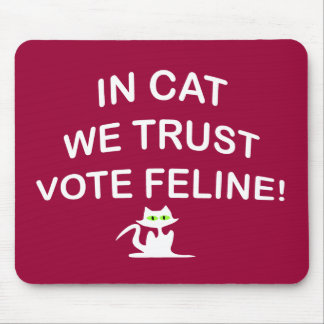 Vote Cat with White Text Mouse Pads