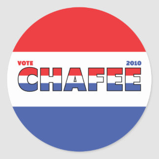 Vote Chafee 2010 Elections Red White and Blue Classic Round Sticker