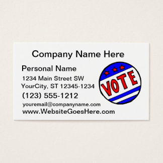 VOTE circle seal with stars and stripes red blue Business Card