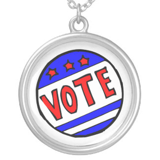 VOTE circle seal with stars and stripes red blue Round Pendant Necklace