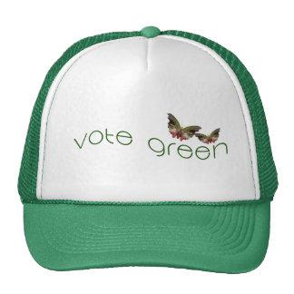 Vote con el logotipo verde de las mariposas en gorros bordados