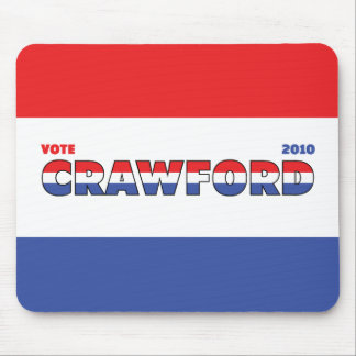 Vote Crawford 2010 Elections Red White and Blue Mouse Pad