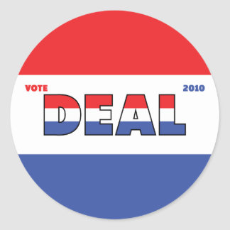 Vote Deal 2010 Elections Red White and Blue Classic Round Sticker