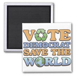 Vote Dem Save the World 2 Inch Square Magnet