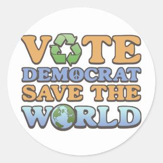 Vote Dem Save the World Sticker
