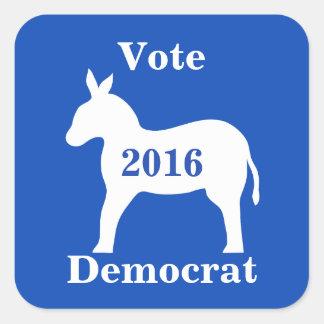 Vote Democrat 2016 Election Donkey Blue Square Sticker