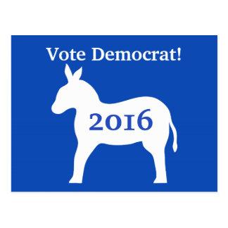 Vote Democrat 2016 President Election Blue Donkey Postcard