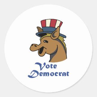 VOTE DEMOCRAT CLASSIC ROUND STICKER
