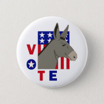 VOTE DEMOCRAT DONKEY BUTTON