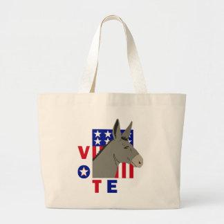 VOTE DEMOCRAT DONKEY LARGE TOTE BAG