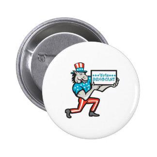 Vote Democrat Donkey Mascot Cartoon 2 Inch Round Button