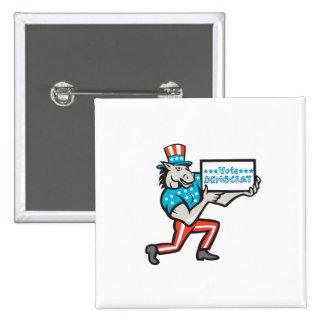 Vote Democrat Donkey Mascot Cartoon 2 Inch Square Button