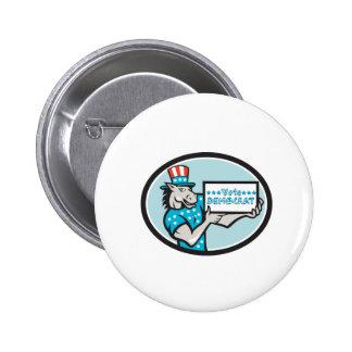 Vote Democrat Donkey Mascot Oval Cartoon 2 Inch Round Button