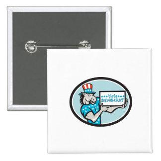 Vote Democrat Donkey Mascot Oval Cartoon 2 Inch Square Button