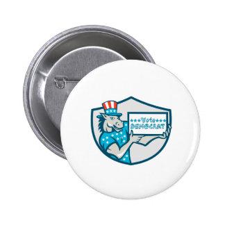 Vote Democrat Donkey Mascot Shield Cartoon 2 Inch Round Button