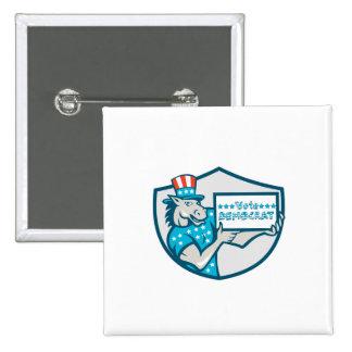 Vote Democrat Donkey Mascot Shield Cartoon 2 Inch Square Button