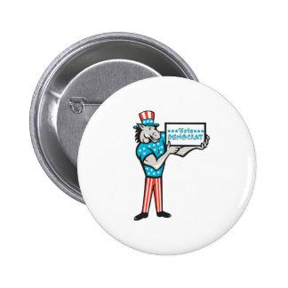 Vote Democrat Donkey Mascot Standing Cartoon 2 Inch Round Button