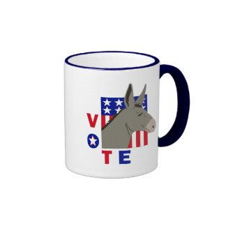 VOTE DEMOCRAT DONKEY RINGER COFFEE MUG