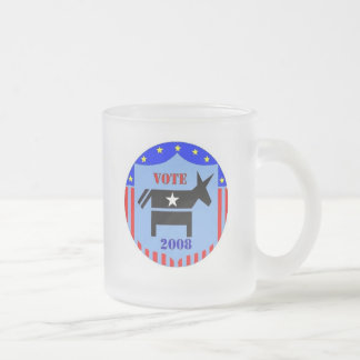 VOTE DEMOCRAT IN 2008 FROSTED COFFEE MUG CUP