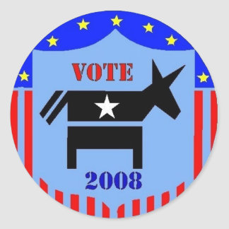 VOTE DEMOCRAT IN 2008 STICKERS POLITICS